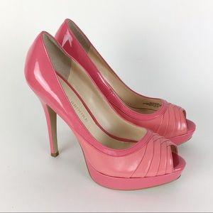 Audrey Brooke Two Tone Pink Leather Platform Heels